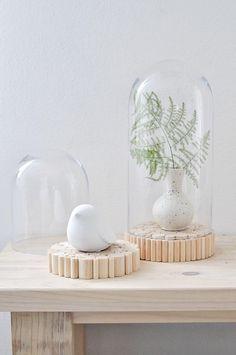 Glasglocke mit Holzsockel | S von S i n n e n r a u s c h auf DaWanda.com