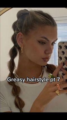 Greasy Hair Hairstyles, Work Hairstyles, Summer Hairstyles, Picture Day Hairstyles, School Hairstyles, Hair Upstyles, Wie Macht Man, Aesthetic Hair, Hair Videos
