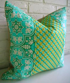 "Modern Eclectic Pillow Cover Turquoise Teal by habitationBoheme 15""x18"" (cover only)"