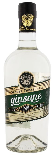 GINSANE - Dry Gin der Marke The Secret Treasures im neuen Design