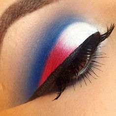 Patriots or 4th of July eye makeup!