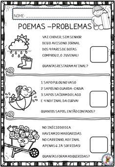 Atividades de Matemática: Poemas-problemas 1 Math For Kids, Yoga For Kids, Professor, Homeschool, Study, Teaching, 1, Poetry Activities, Lesson Plans For Elementary