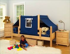 Maxtrix Kids Twin Daybed / Toddler Bed with Top Tent Bedroom Set - Maxtrix Bedroom Series - Toddler Beds - Nursery Furniture - Baby & Kids' Furniture - Furniture Unique Toddler Beds, Diy Toddler Bed, Toddler Camping, Toddler Tent, Girl Toddler, Tent Bedroom, Bed Tent, Fort Bed, Bedroom Balcony