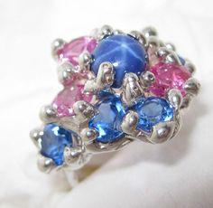 Star Sapphire ring lab sterling silver Artist by jburkhartcom