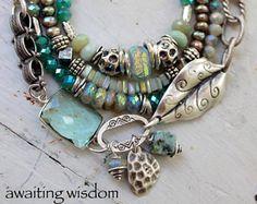 bracelet, fluorite bracelet, aquamarine bracelet, green bracelet, leaf bracelet, bohemian bracelet, opal bracelet, christmas for her