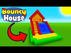 Minecraft Tutorial: How To Make A Bouncy House with a Water Slide (Bouncy House In Minecraft) - YouT Minecraft Park, Cool Minecraft Banners, Minecraft Shops, Minecraft Wolf, Minecraft Modern, Amazing Minecraft, Minecraft Decorations, Cool Minecraft Houses, Minecraft Designs