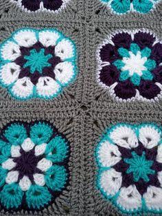 Crochet Baby Blanket Crochet Baby Afghan in Purple Aqua