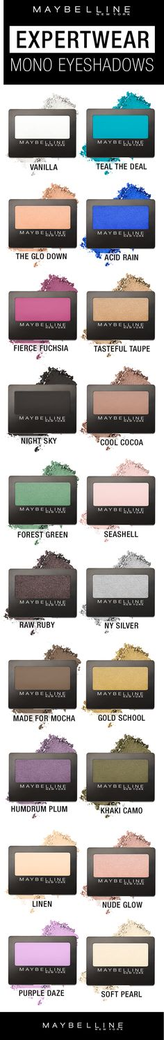 The BEST affordable eyeshadow singles! Our NEW Expertwear Mono Eyeshadows, available in 20 gorgeous shades!  We have reformulated these eyeshadows to be more pigmented and more buttery in texture so they're extra blendable and easy to apply.  There are satin, matte, and shimmer finishes for any eyeshadow look you want to create.