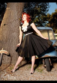 The Heidi Dress in Black with Creme Bow from Pinup Couture