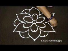 how to draw simple rangoli designs with middle dots *beautiful kolam *easy chikkala muggulu Free Hand Rangoli Design, Small Rangoli Design, Rangoli Designs With Dots, Rangoli Designs Images, Rangoli With Dots, Beautiful Rangoli Designs, Rangoli Photos, Rangoli Ideas, Rangoli Borders