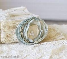 Blue & Cream Rose Lace Headband