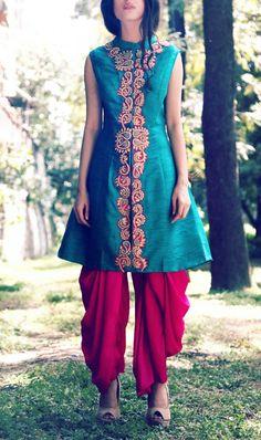 teal heavy zardozi jacket with pink popular dhoti pants
