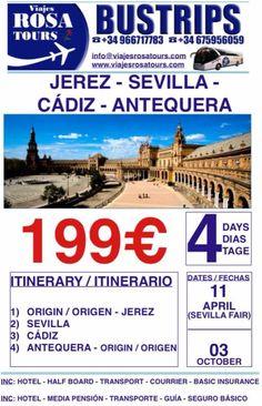Tour a Jerez y Feria de Sevilla  Te lo vas a perder?? Reserva tu plaza y disfruta!! www.viajesrosatours.com info@viajesrosatours.com (+34)966717783  (+34)675956059