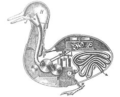 The mechanical duck, constructed by Jacques de Vaucanson (1709-1782), inventor of silk-weaving machinery.