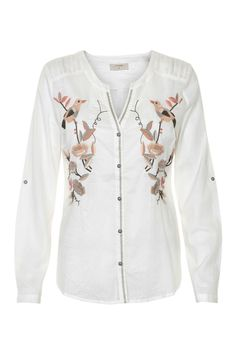 "Button down soft 100% cotton long sleeve top is embellished with birds and flower embroidery on front.  Sleeves can be tabbed up. 3"" slits at sides and stitch detail at shoulders. Embroidered Top by Cream. Clothing - Tops - Long Sleeve Canada"