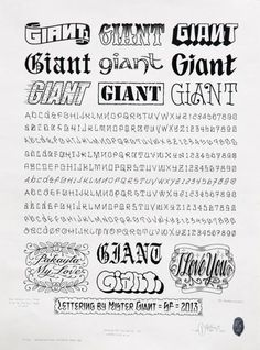 """""""Lettering Sheet #1″, 2013. Mike Giant"""