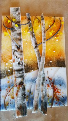 Fused glass sgraffito by Kathy J.Monti