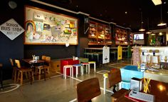 This Perth bar looks just like a first grade classroom Restaurant Interior Design, Commercial Interior Design, Commercial Interiors, Perth Bars, Ventura Homes, Classroom Pictures, First Grade Classroom, Colorful Chairs, Take A Seat