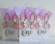 Bunny Gift Bags, Bunny Party Bags, Bunny Party Favor Bags, Some Bunny is One Birthday Gift Bags, Birthday Party Favors, First Birthday Parties, First Birthdays, Theme Parties, Birthday Ideas, Baby Girl 1st Birthday, Bunny Birthday, Lolly Bags