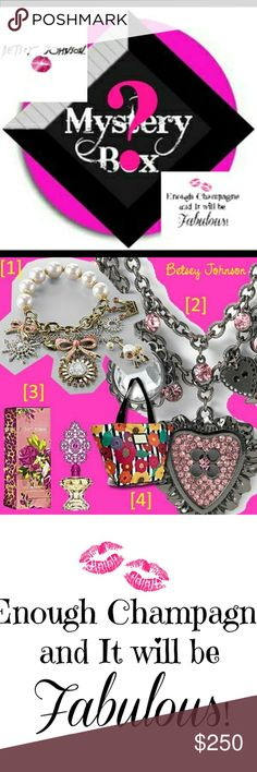 🆕️ BETSEY JOHNSON MYSTERY BOX BETSEY JOHNSON MYSTERY BOX HAS A RETAIL VALUE OF $400 or higher.  May contain Handbags, Wristlets, Shoes, Jewelry, Scarfs, Sunglasses, Perfumes, Clothing or other 100% Authentic BETSEY JOHNSON products. All items in MYSTERY BOX are in new or like new condition.  All sales on the BETSEY JOHNSON Mystery Box are final.   No returns or refunds are accepted. You may reposh the items.   May not be included with the free item promotion. $250 OR 2 FOR $400 Betsey…