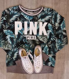 You can never go wrong with casual #PINK sweatshirts & converse for those cozy #SummerNights - Get the look at #PlatosBrampton! | www.platosclosetbrampton.com
