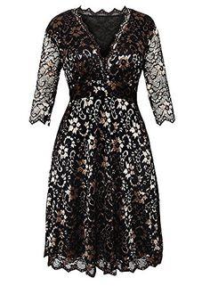 088492cfb173 Cfanny Women s Solid V-Neck Scalloped Trim Lace Plus Size Dress