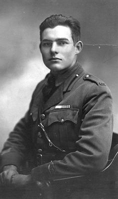 Ernest Hemingway (July 21, 1899 – July 2, 1961). Born in Oak Park, IL. His father was a physician, his mother a musician. Volunteered for duty as a Red Cross ambulance driver in Italy during WW I, was wounded by mortar fire and received Italian Silver Medal of Bravery. Author, Pulitzer and Nobel prize winner. Pictured here in Milan, Italy, at age 19.