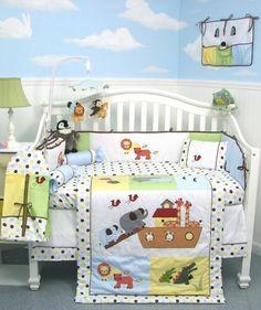 SoHo Noah Ark Baby Crib Nursery Bedding 13 pcs included Diaper Bag with Changing Pad & Bottle Case SoHo Designs Crib Sets For Boys, Baby Crib Sets, Baby Boy Rooms, Baby Boy Nurseries, Baby Cribs, Baby Baby, Baby Bedroom, Baby Crib Bedding Sets, Baby Pillows