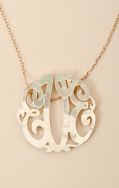 Small Mother of Pearl Monogram Necklace**-Multi-O/S