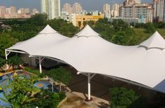 Fabric structures for various types of coverage entrance school stage area sports courts roof top canteen food court etc.