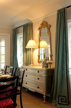 Chinoiserie Chic: Navy Greek Key Trim on the curtain- High/Low Drapery Panels, Drapes Curtains, Valances, Chinoiserie Chic, Custom Window Treatments, Window Coverings, Soft Furnishings, Decoration, Home Remodeling