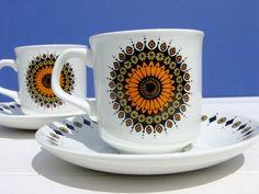 Vintage Retro Set 2 Cups & Saucers 70's J G Meakin Inca Design Jessie Tait   eBay