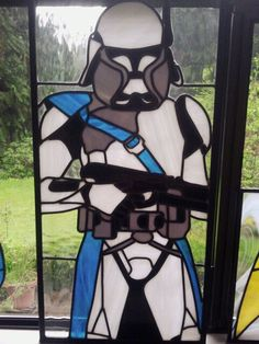 Storm Trooper stained glass window.  Be still my nerdy heart.