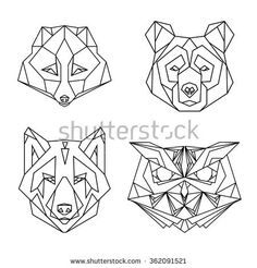 Geometric set of four vector animal heads: fox, bear, wolf, owl, drawn in line or triangle style, suitable for modern tattoo polygonal templates, icons or logo elements