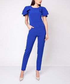 f007f4b2c224 Look what I found on  zulily! Cobalt Ruffle-Sleeve Jumpsuit  zulilyfinds  Jumpsuits