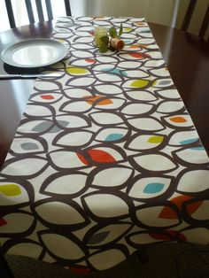 "Retro Orange Table Runner Multi and White Funky Cotton (54"" 137cm). $30.00, via Etsy."