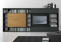 Módulo de arrumação de parede secional lacada com suporte para TV COMP 313 Coleção Pari