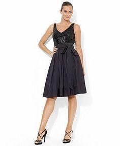 Lauren Ralph Lauren Dress, Sleeveless Sequin Pleated Taffeta