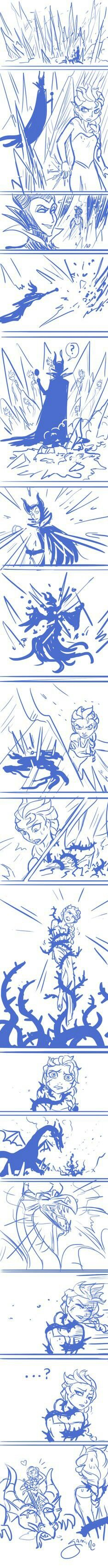 Elsa vs Maleficent and Anna to the Rescue.