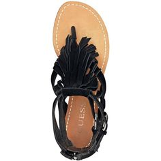 GUESS Barin Fringed Suede Sandals ($120) ❤ liked on Polyvore
