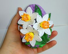 Quilled Easter egg with daffodils 3D Quilling egg Paper