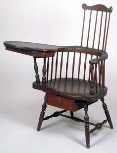 Writing Arm Chair crafted by Ebenezer B. Tracy (1744-1803),Lisbon,Connecticut (Traces of old green paint can still be seen)