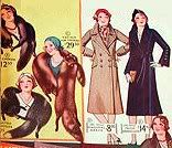 1930s fashions carried over from the 20s:fur stoles & close-fitting cloche hats.