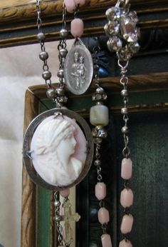 Shell cameo rosary necklace  Antique glass rosary and by jaimelisa, $138.00