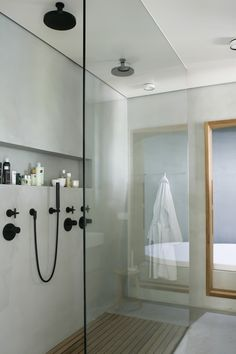 black fixtures in the bathroom