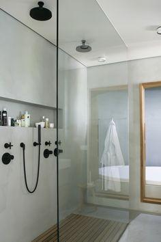 black fixtures in the bathroom