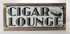 Framed Cigar Lounge Metal Sign mounted on Rustic Weathered Wood ** This is an Amazon Affiliate link. See this great product.