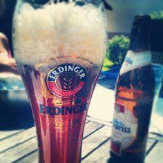 oh... edelweiß meets erdinger... Beer, Tableware, Glass, Root Beer, Ale, Dinnerware, Drinkware, Tablewares, Corning Glass