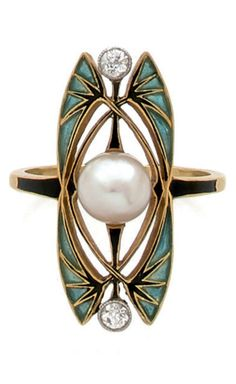An Art Nouveau gold, platinum, plique-à-jour enamel, diamond and pearl ring, circa 1900.