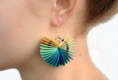 Ombre turquoise: Dangle Earrings made of cardstock